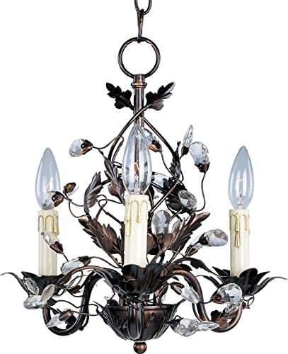 """lowest Maxim sale 2855OI Elegante Crystal and Leaves Around Vines Candle Mini Chandelier, 3-Light 180 online sale Total Watts, 15""""H x 14""""W, Oil-Rubbed Bronze online sale"""