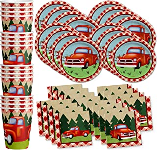 Red Vintage Pickup Truck Birthday Party Supplies Set Plates Napkins Cups Tableware Kit for 16