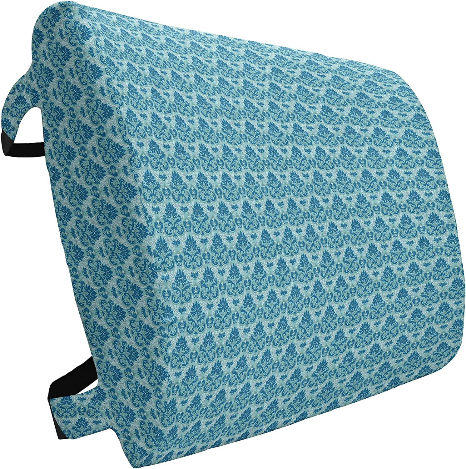 Ambesonne Damask Lumbar 67% OFF of fixed price Pillow Blue Colored famous Pattern Wester with