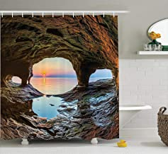 Natural Cave Decorations Shower Curtain Set, Horizon View From Fairy Mossy Invisible Big Grotto By The Sea Up Rocks Photo,...