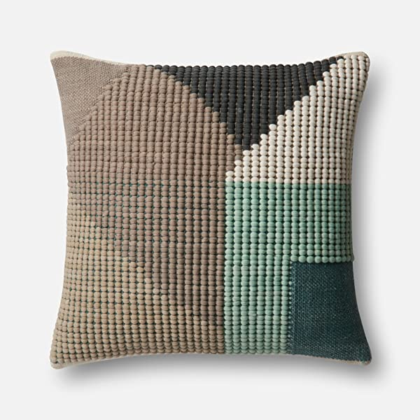 Loloi DSET Teal Multi Decorative Accent Pillow 22 X 22 Cover With Down