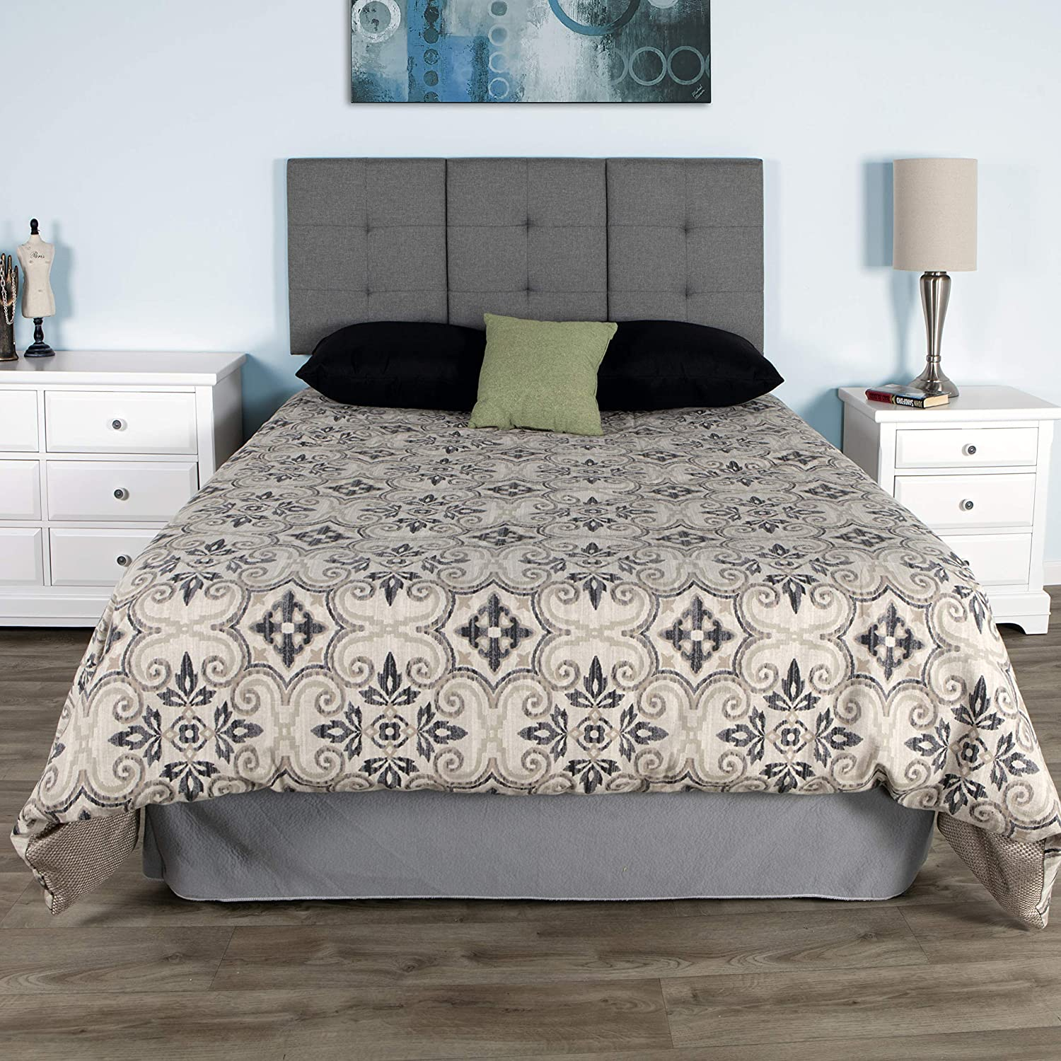 Queen//Full Platform Bed Frame Mattress Foundations Universal Fit for Air Mattresses and Box Springs: Tufted Faux Leather White Boyd Sleep Mia Upholstered Tri-Panel Adjustable Height Headboard
