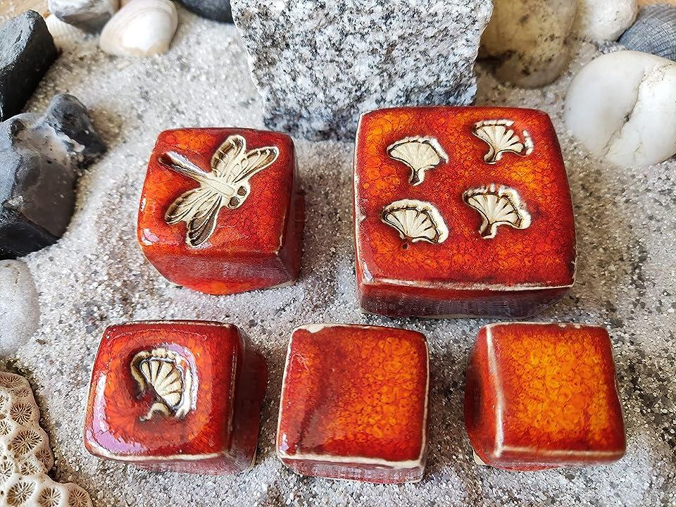 Ornament Pflasterstein aus Keramik Set 5 Stück Handarbeit