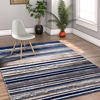 """Well Woven Riviera Stripe Blue & Beige Vintage Modern Geometric Abstract Shabby Chic Area Rug 8 x 10 (7'10"""" x 9'10"""") Neutral Thick Soft Plush Shed Free"""