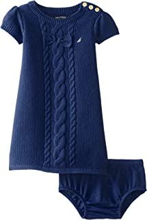 Nautica Baby Girls' Cable Bow Sweater Dress, Med
