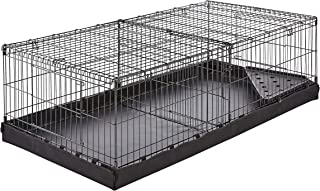 AmazonBasics Canvas Bottom Dual Habitat Pet Cage with Divider Set - 48 x 14 x 24 Inches, Black