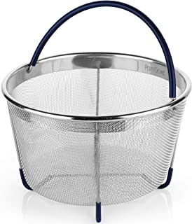 PerfeCome Steamer Basket for 6 Qt Pressure Cooker, Instant Pot 6 & 8 Quart Compatible, Ninja Foodi & Other - Vegetable & Egg Stainless Steel Mesh Insert with Silicone Handle & Non-Slip Legs