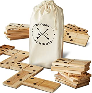 Hammer + Axe Jumbo Wooden Dominoes Game, Includes Canvas Carrying Bag, Rustic Natural Wood Grain Finish, Big Playing Tiles, 4-Player Party Game, Fun for All Ages! Great Gift Idea, 28-Piece Set