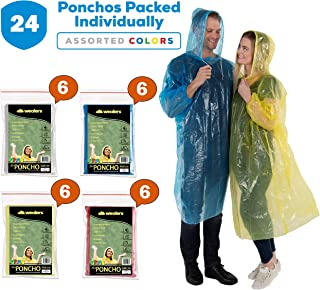 Wealers Rain Poncho for Adults / Disposable Extra Thick Heavy Duty Emergency Ponchos / for Men Women & Teens / Reusable & Waterproof Hood Strings & Sleeves Outfit for Camping Amusement Parks (24 Pack)