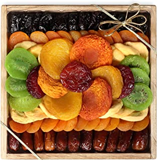 Milliard Dried Fruit Gift Platter Basket Arrangement Nut Free on Wood Tray for Occasions including New Years, Valentines D...