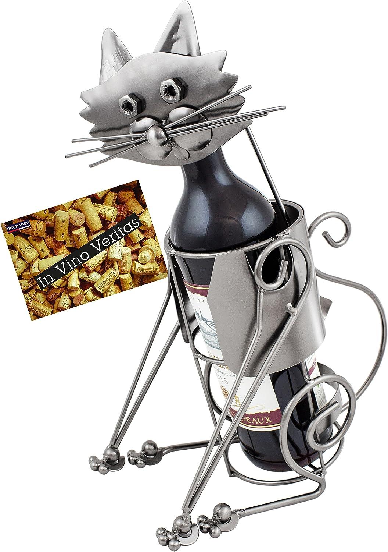 BRUBAKER Porta Botella de Vino - Gato - Portabotellas de Metal Decoración con Tarjeta de Felicitación - Regalo de Vino
