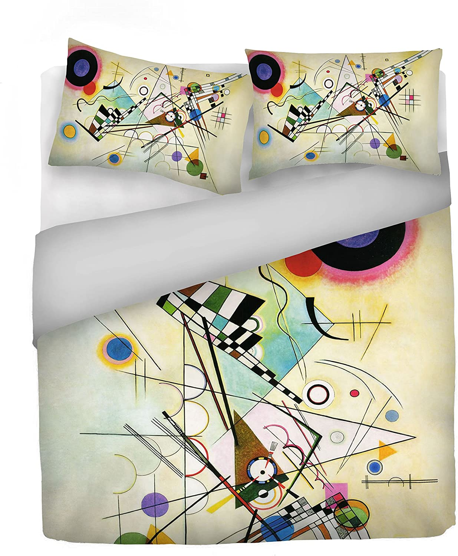 """Italian Bed Linen Housse de couette """"Sogni d'Autore""""avec impression digitale, 100% coton, fabriqué en Italie, 100, SD10, 2 Places Sd61"""