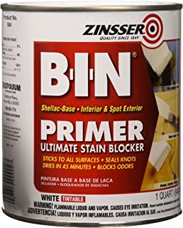 Zinsser 00904 B-I-N Pigmented Shellac Primer-Sealer & Stain Killer, White, 1 Quart