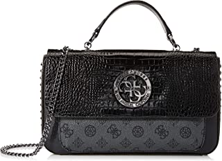 GUESS Womens Convertible Crossbody Flap Bag, Black - SM744121