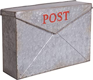 Rustic Galvanized Metal Wall Mounted Post Mailbox, 15-inch
