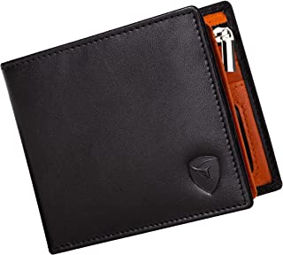 SKENZBI® RFID Wallet For Men - Space for 12 Card Holder, Cash, ID Window - Slim Leather Wallet Card Holder For Men (Orange...