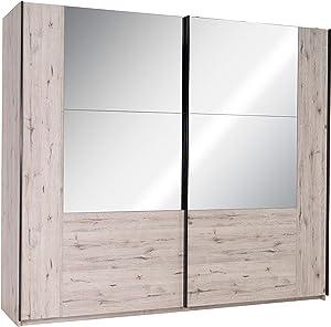 Movian Saale Schiebetürenkleiderschrank mit Spiegel, 2 Türen, 200 x 217,6 x 66cm, Wellington-Eiche Optik