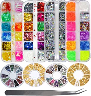8 Pack Epoxy Resin Nail Art Chunky Glitter Flakes Holographic Silver Butterfly Round Glitter Sequins Flakes and Nail Rhine...