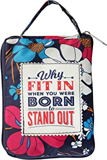 History & Heraldry Born to Stand Out Navy Blue Floral 16 x 14 Polyester Fabric Tote Handbag