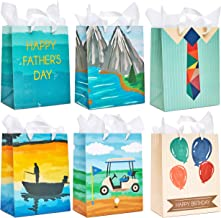 Juvale 12-Pack Gift Bags with Tissue Paper - Birthday and Fathers Day Designs, 10 x 8 x 4.5 Inches
