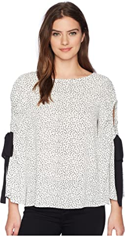 Vince Camuto - Bell Sleeve Flower Ditsy Tie Cold Shoulder Blouse
