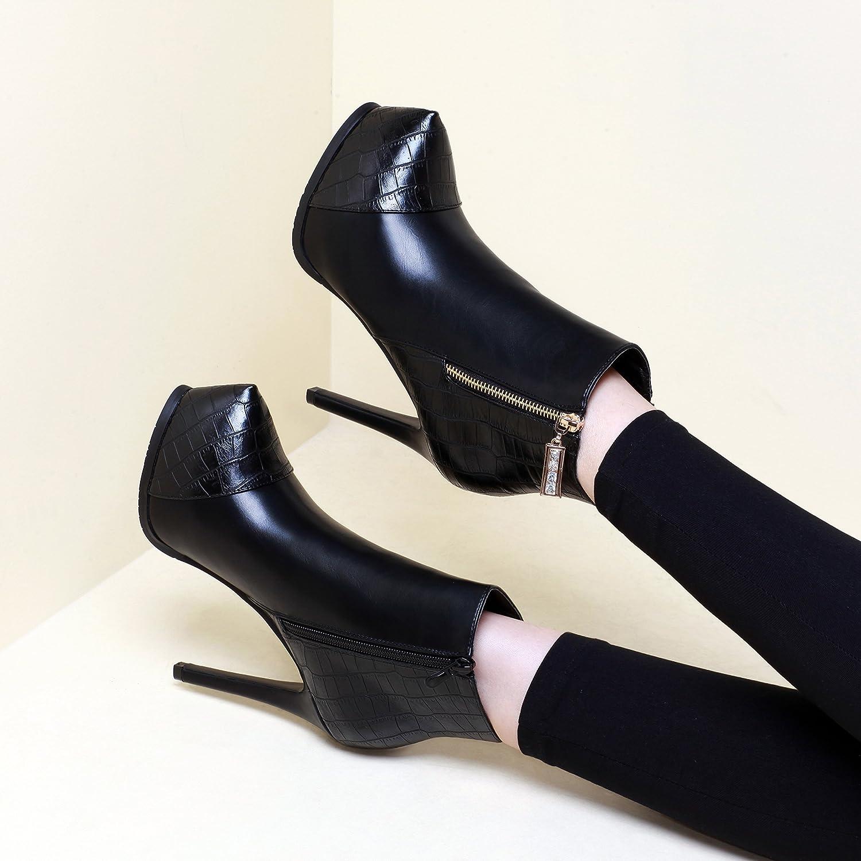 Shukun Stiefeletten Super High Heel Stiefel Damen Herbst und Winter Martin Stiefel Wasserdichte Plattform Stiletto Kurze Stiefel Einzel 12Cm High Heel Damenschuhe  | New Product 2019