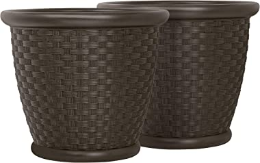 "Suncast 22"" Sonora Resin Wicker Planter Contemporary Lightweight Flower Pot for Indoor and Outdoor Use, Home, Yard, or Garden"