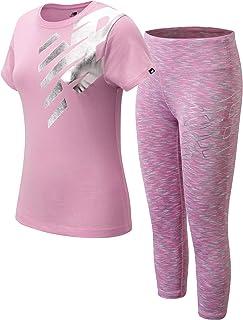 New Balance Girls' Active Leggings Set - Short Sleeve Performance T-Shirt and Capri Leggings Activewear Set (2 Piece), Siz...