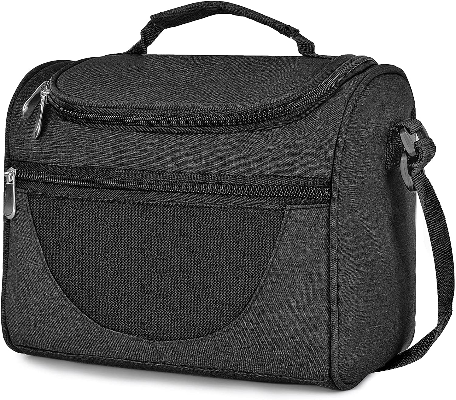 IWNTWY Lunch Bag, Insulated Lunch Box for Men Women Kids Boys Girls, Reusable Leakproof Lunch Cooler with Adjustable Shoulder Strap and Handle for Office School Beach Picnic (Black)