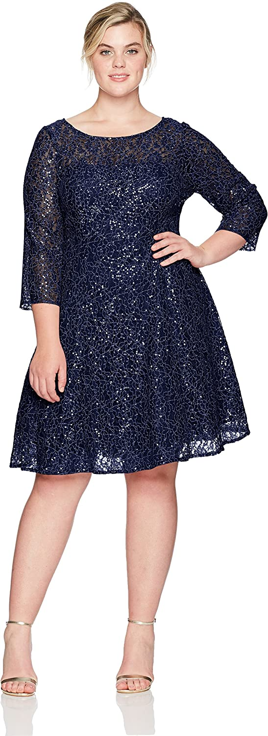 S.L. Fashions Womens Lace and Sequin Fit and Flare Dress Plus Dress