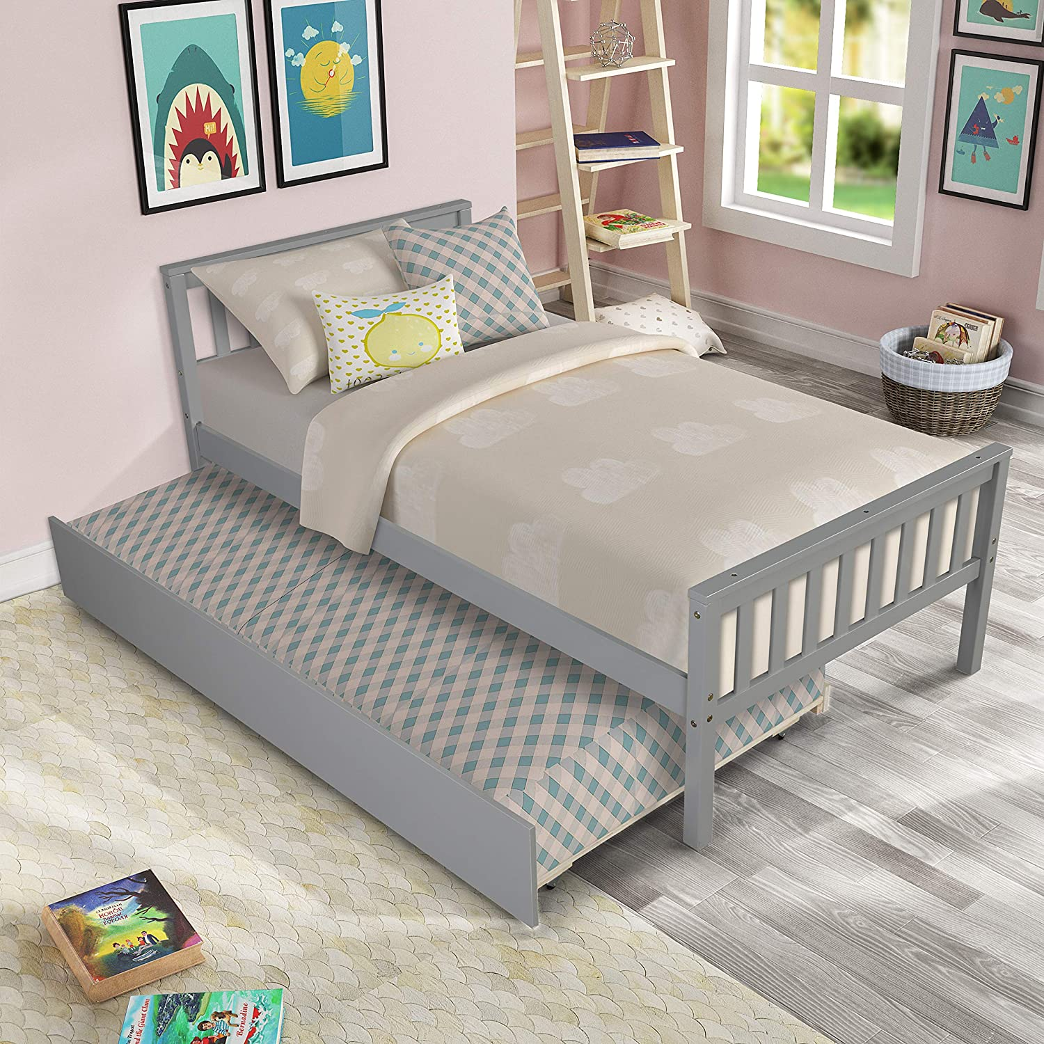 Twin Bed San Diego Mall with Trundle HABITRIO Be Wood Solid Size Platform Max 41% OFF