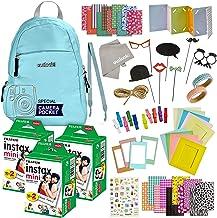 100 Piece Fujifilm Instax Mini 11 9 8 90 70 Camera Accessories - Travel Kit -Backpack Shoulder Bag, Fuji Instant Film (60 Sheets), Lens Cloth, Strap, Washi Tape, Stickers,Frames,Album - Ice Blue