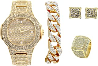 Blinged Out Wrist Watch Challenge - Be Legendary in Your Crew with The Ultimate Gold Iced Out Oblong Hip Hop Watch Cuban Bracelet, Pave Earrings, and Men's Bling King Ring - 8967GCER