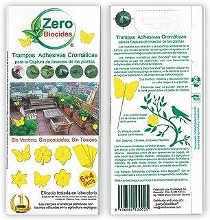 Zero Biocides 10 Trampas Adhesivas Cromáticas para la Captura de Insectos de Las Plantas Fabricadas en España