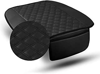 PU211102 Faux Leather Seat Cushion Pad with Front Pocket, Black Color- Fit Most Car, Truck, SUV, or Van