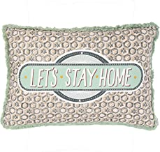 Creative Co-Op Let's Stay Home Reversible Rectangle Cotton Stamp Solid Back Lumbar Pillow, Green