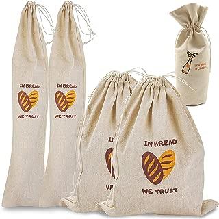 Koaland Pack of 4 Natural Unbleached Linen Bread Bags, Reusable Drawstring Bag for Loaf, Baguette and Homemade Artisan Bread Storage, Linen Bag for Food Storage, Bonus Wine Canvas Bag