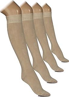 Hugh Ugoli Women's Knee High Dress Socks Bamboo Comfort Seam Toe Solid Color 4 Pairs