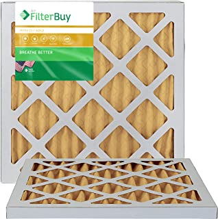 FilterBuy 18x18x1 MERV 11 Pleated AC Furnace Air Filter, (Pack of 2 Filters), 18x18x1 – Gold