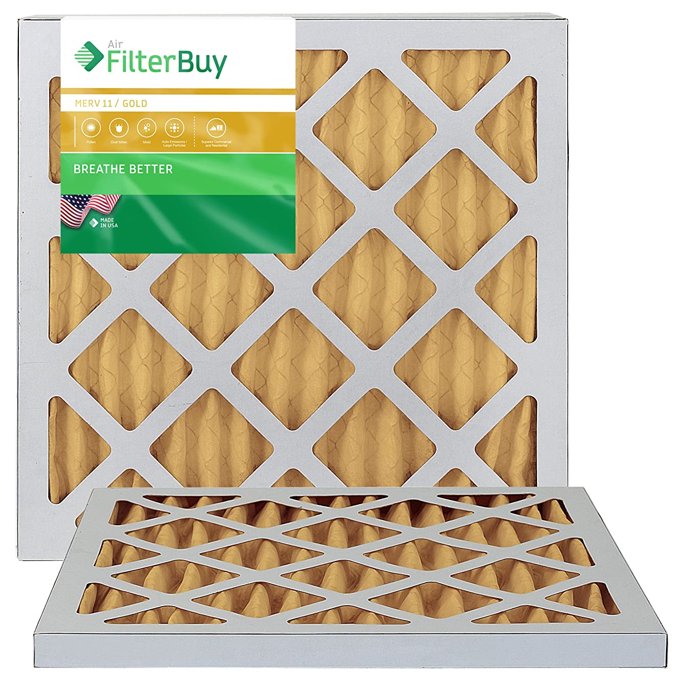 FilterBuy 12x18x1 MERV 11 Pleated AC Furnace Air Filter, (Pack of 2 Filters), 12x18x1 – Gold