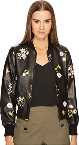 Kate Spade New York - In Bloom Leather Bomber Jacket