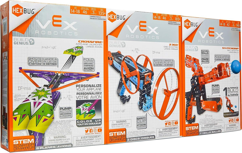 Hex Bug- Vex Robotics 3 pak Airplane launcher, Ball Shooter and Disc Shooter