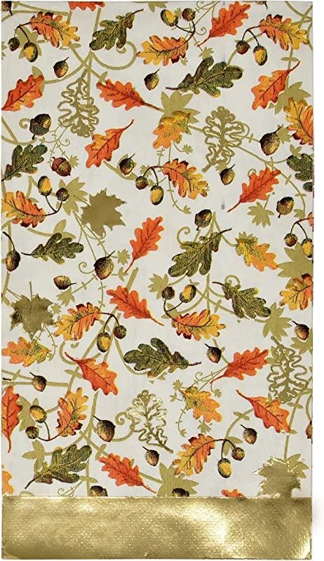 100 Count Thanksgiving Gold Foil Guest Napkins Paper Hand Towels Disposable Dinner Home Kitchen Autumn Pumpkin Harvest Fall Celebrate Holiday Napkin Party Decorative Guest Napkins Gift Boutique