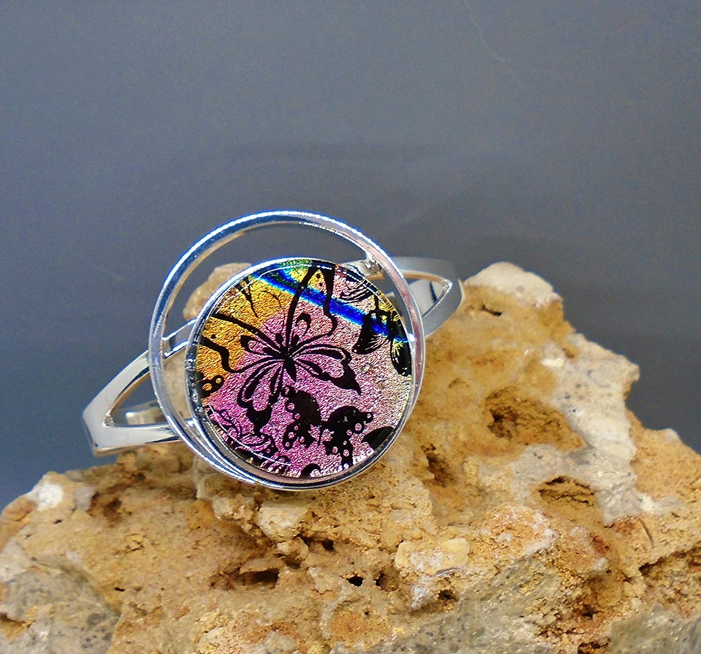 Houston Mall Superior Dichroic Fused Glass Bangle - Bracelet Butterflies