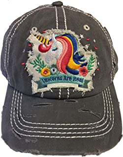 4350 DISTRICT Unicorns are Real Women's Cotton Vintage Baseball Hat