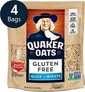 Quaker Gluten Free Quick 1-Minute Oats, Non GMO Project Verified, 24oz Resealable Bags (Pack of 4)