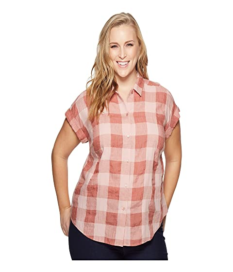 lucky brand plus size plaid short sleeve top