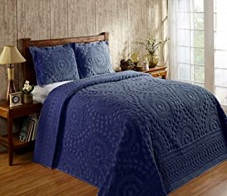 Better Trends Rio Collection in Floral Design 100% Cotton Tufted Chenille, King Bedspread, Navy