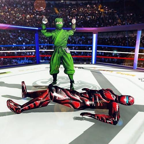 Kung Fu Ninja Kampfspiele kostenlos 2019: Käfig Wrestling-Spiel