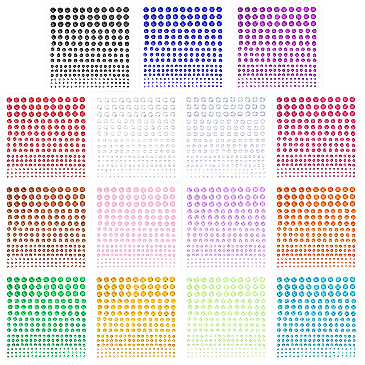Phogary Self-Adhesive Rhinestone Sticker 3375 Pieces Crystal in 5 Size 15 Colors Bling Craft Jewels Gem Stickers for Crafts, Body, DIY Nails, Festival, Carnival, Makeup